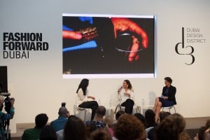 DUBAI, UNITED ARAB EMIRATES - APRIL 01: (L-R) Moderator Ritu Upadhyay, WWD, Sarah Beydoun, Sarah's Bag and Caterina Occhio, SeeME speak during the d3 Fashion Talk: Why Ethical Fashion Matters on day 2 of Fashion Forward Fall/Winter 2016 held at the Dubai Design District on April 1, 2016 in Dubai, United Arab Emirates. (Photo by Cedric Ribeiro/Getty Images) *** Local Caption *** Ritu Upadhyay;Sarah Beydoun;Caterina Occhio