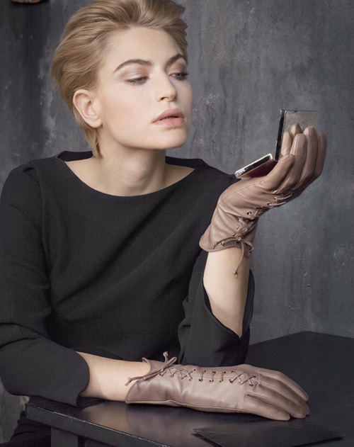 Otto Kessler Handschuhe Damen halblang greige