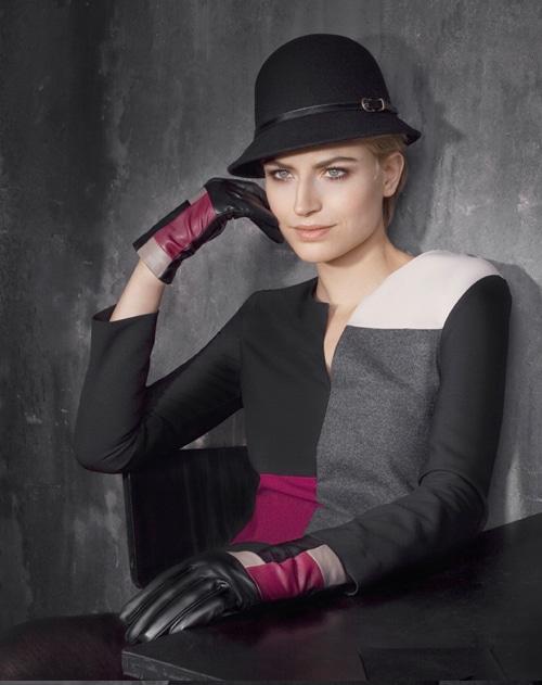 Otto Kessler Handschuhe Damen halblang schwarz pink