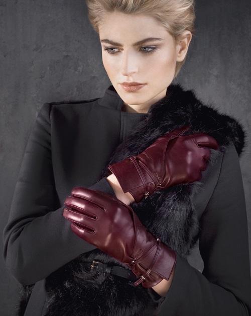 Otto Kessler Handschuhe Damen halblang weinrot